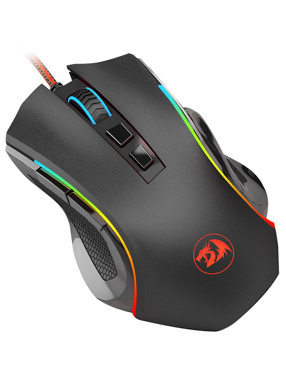 Gaming Mouse LED RGB Wired MMO PC Gaming Mouse Ergonomic High-Precision 7 Buttons Programmable Gaming Mouse Total 8