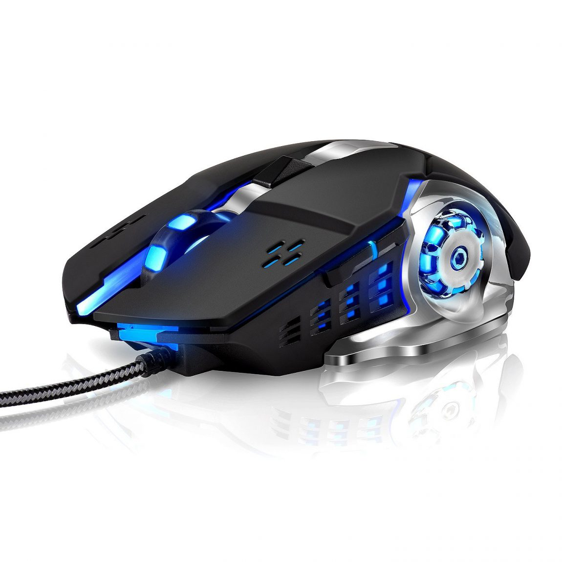 LENRUE Laser Gaming Mouse Wired with 6 Programable Buttons 4 Color Cycle Breathing, High Precision Metal Base